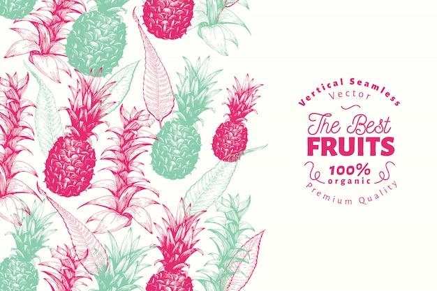 Modelo de design de fruta abacaxi. ilustração tirada mão da fruta do vetor. Vetor Premium
