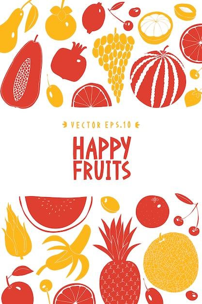 Modelo de design de fruta desenhada mão escandinava. gráfico monocromático. fundo de frutas. estilo linogravura. comida saudável. ilustração vetorial Vetor Premium