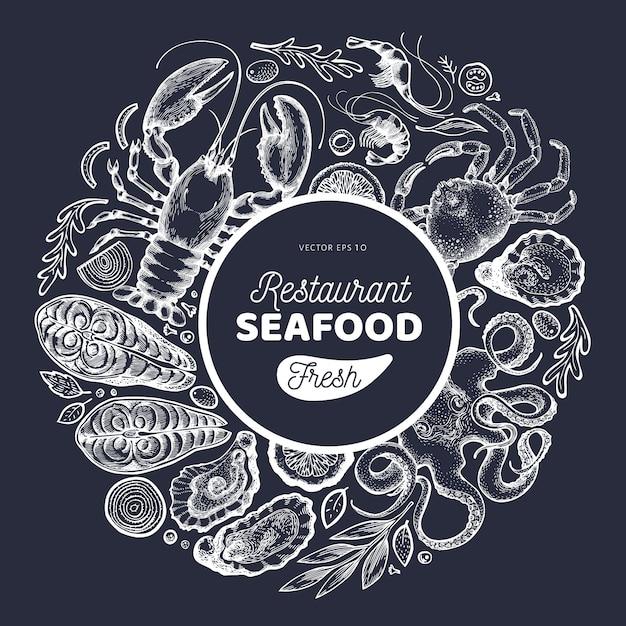 Modelo de design de frutos do mar e peixes Vetor Premium