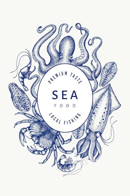 Modelo de design de frutos do mar. mão-extraídas ilustração vetorial de frutos do mar. Vetor Premium