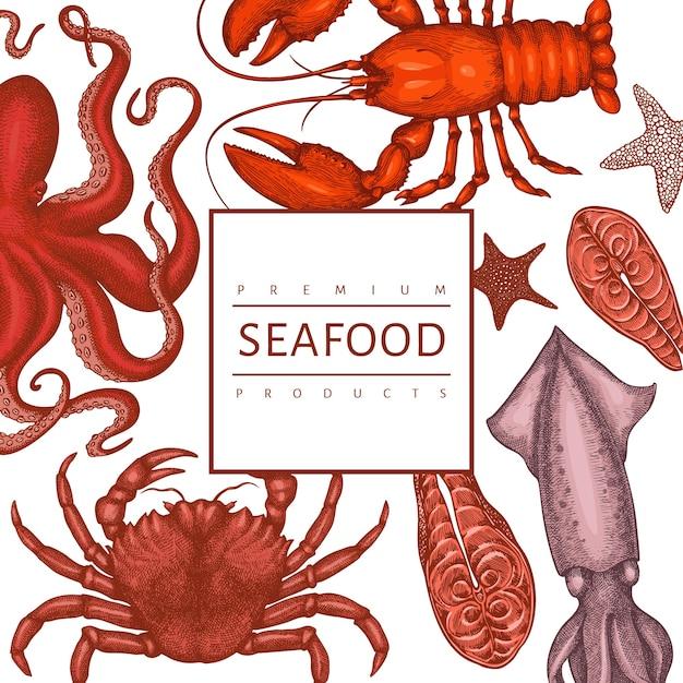 Modelo de design de frutos do mar Vetor Premium