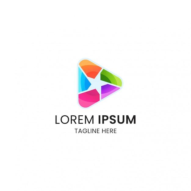 Modelo de design de ícone de logotipo de estrelas coloridas Vetor Premium