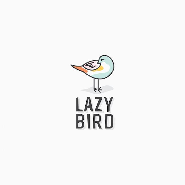 Modelo de design de ícone de logotipo de pássaro preguiçoso Vetor Premium
