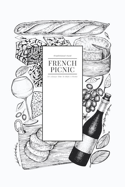 Modelo de design de ilustração de comida francesa. Vetor Premium