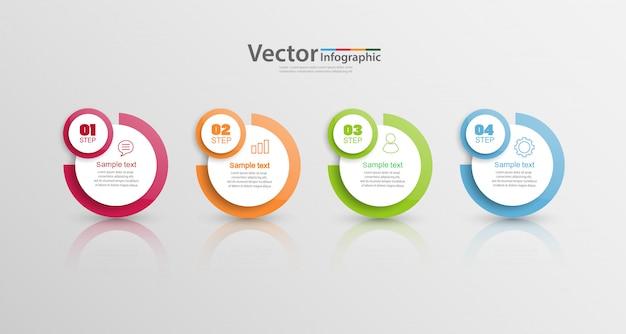Modelo de design de infografia, conceito de estrutura de tópicos com 4 etapas ou opções Vetor Premium