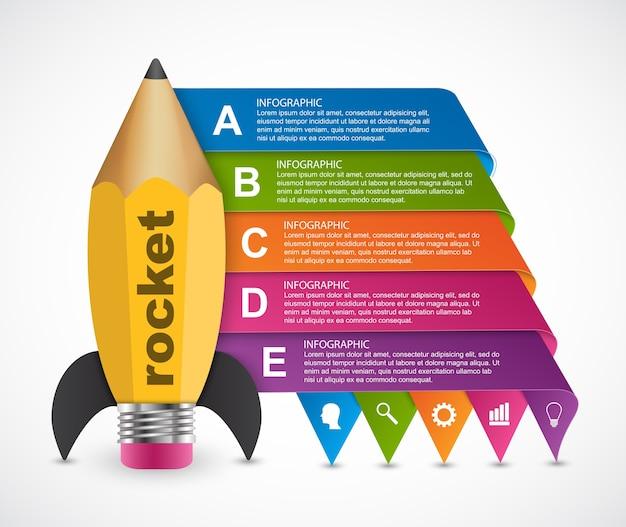 Modelo de design de infografia de opção de educação. Vetor Premium