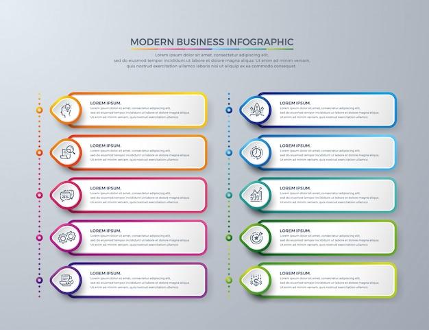 Modelo de design de infográfico com 10 opções de processo ou etapas Vetor Premium