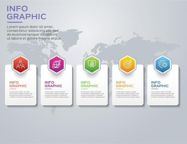 Modelo de design de infográfico com 5 opções ou etapas Vetor Premium