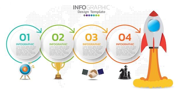 Modelo de design de infográfico com ícones e números. Vetor Premium
