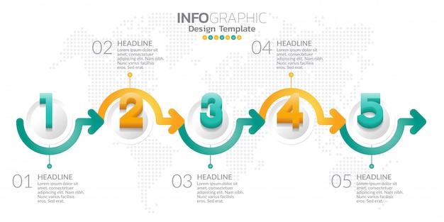 Modelo de design de infográfico com opções ou etapas. Vetor Premium