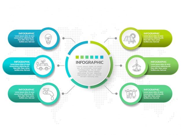 Modelo de design de infográfico com seis opções de cores. Vetor Premium