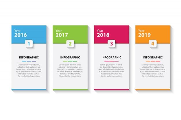 Modelo de design de infográfico cronograma colorido quatro Vetor Premium