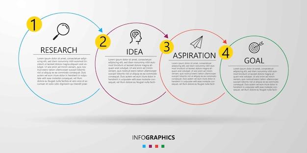 Modelo de design de infográfico de negócios com ícones e 4 quatro opções ou etapas. Vetor Premium
