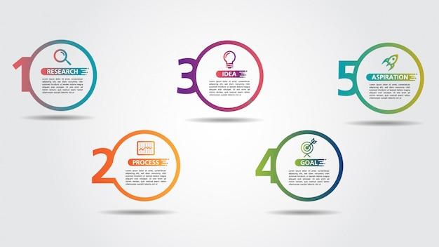 Modelo de design de infográfico de negócios com opções ou etapas Vetor Premium