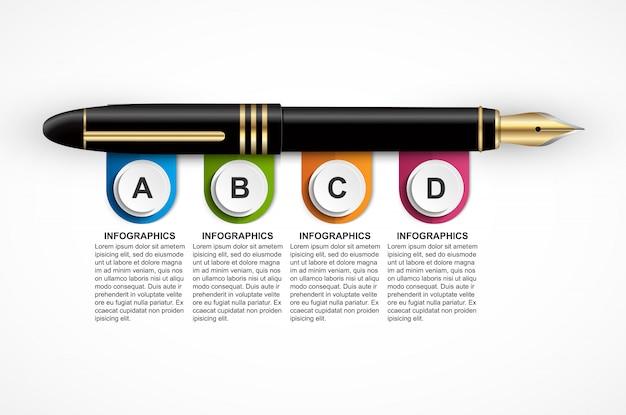 Modelo de design de infográfico de negócios. Vetor Premium