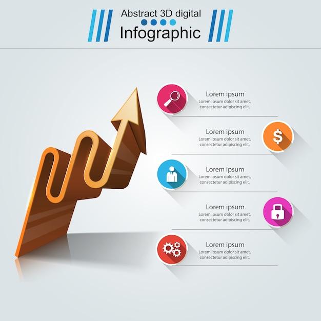 Modelo de design de infográfico. logotipo de setas. Vetor Premium