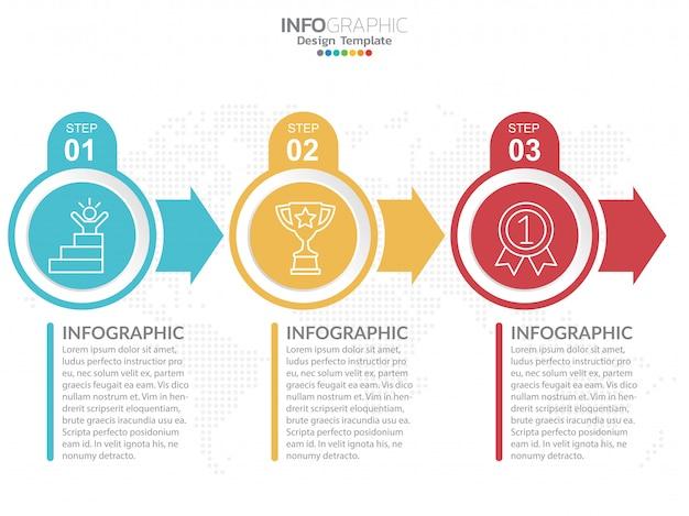 Modelo de design de infográficos com opções. Vetor Premium