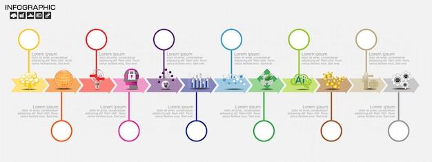 Modelo de design de infográficos de cronograma com opções, diagrama de processo Vetor Premium