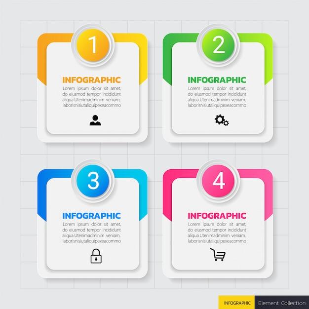Modelo de design de infográficos de negócios Vetor Premium