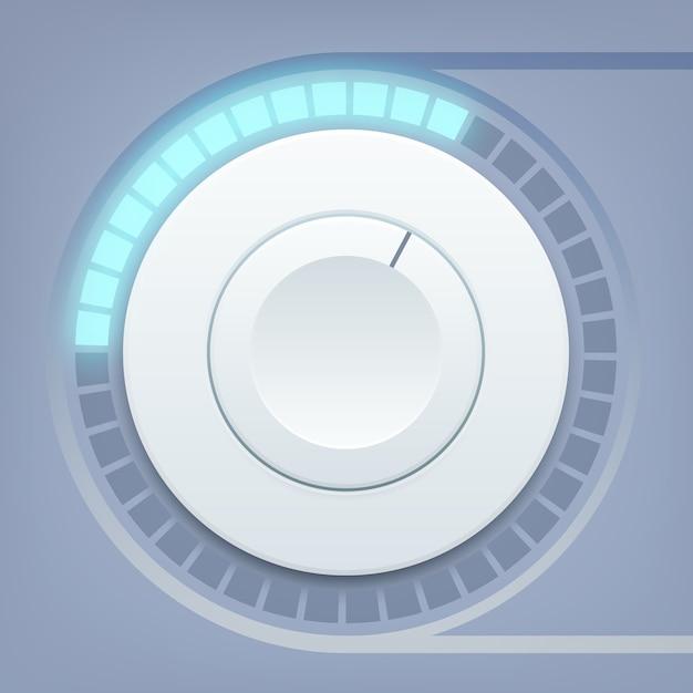 Modelo de design de interface de mídia com controle de volume redondo e escala de som Vetor Premium