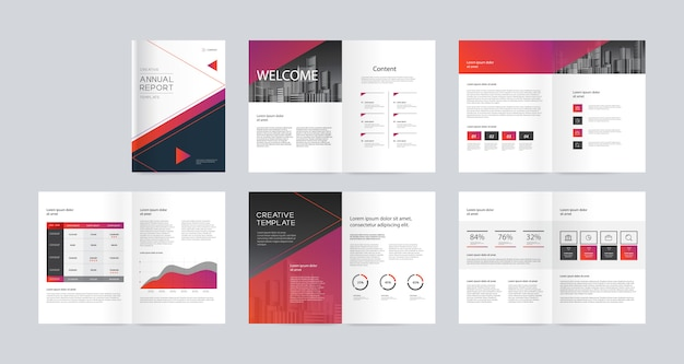 Modelo de design de layout com capa para o perfil da empresa, relatório anual, brochuras, folhetos, revista, livro. e a4 escala de tamanho para editável. Vetor Premium
