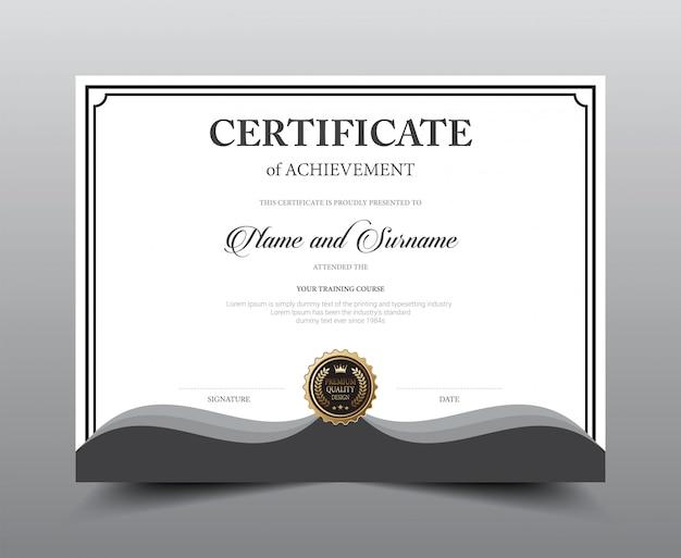 Modelo de design de layout de certificado. Vetor Premium