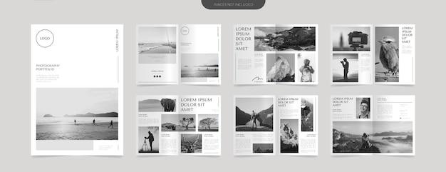 Modelo de design de layout de portfólio de fotografia simples Vetor Premium