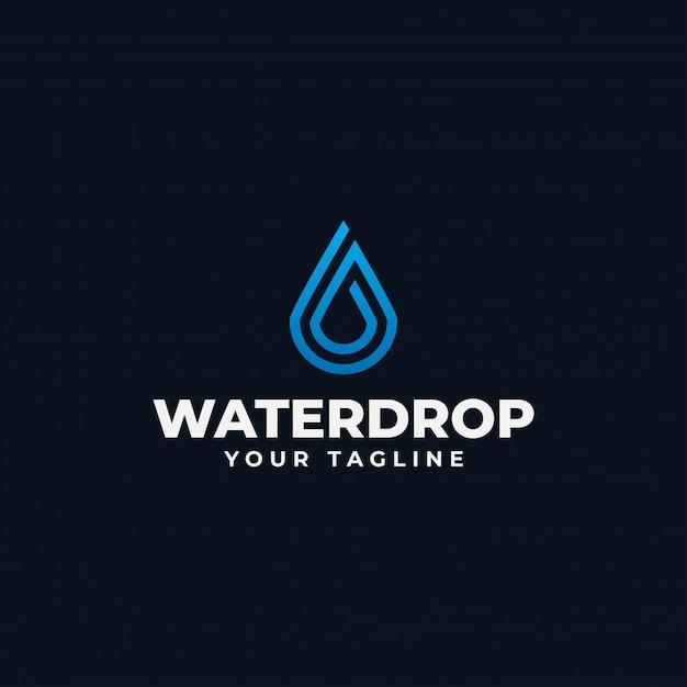 Modelo de design de linha de logotipo de gota de água abstrata simples Vetor Premium