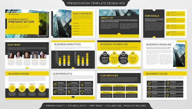 Modelo de design de livreto, apresentação corporativa de negócios com várias páginas Vetor Premium