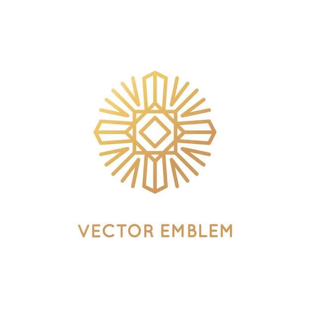 Modelo de design de logotipo abstrato de vetor no elegante estilo linear Vetor Premium