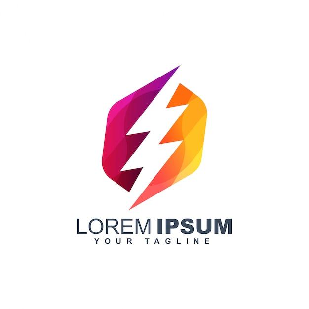 Modelo de design de logotipo abstrato parafuso colorido Vetor Premium
