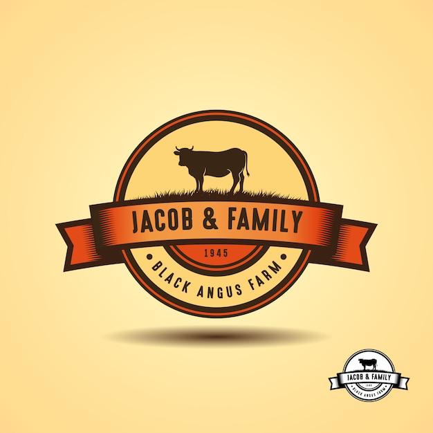Modelo de design de logotipo angus preto. design de logotipo de fazenda de vaca Vetor Premium