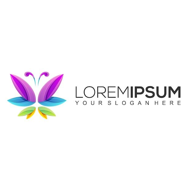 Modelo de design de logotipo borboleta colorido Vetor Premium