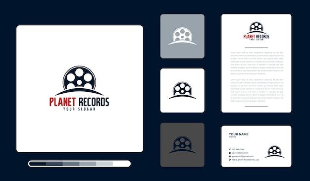 Modelo de design de logotipo da planet records Vetor Premium