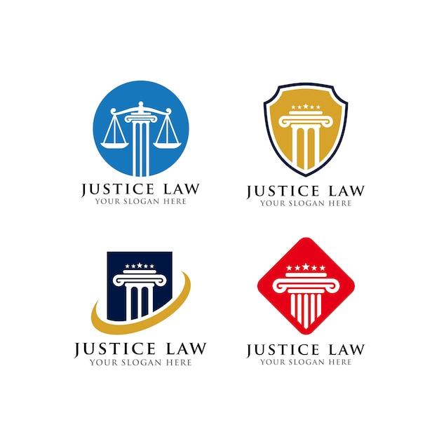 Modelo de design de logotipo de advogado e justiça lei Vetor Premium