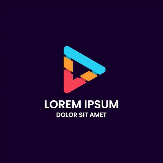 Modelo de design de logotipo de botão de mídia colorida abstrata impressionante Vetor Premium