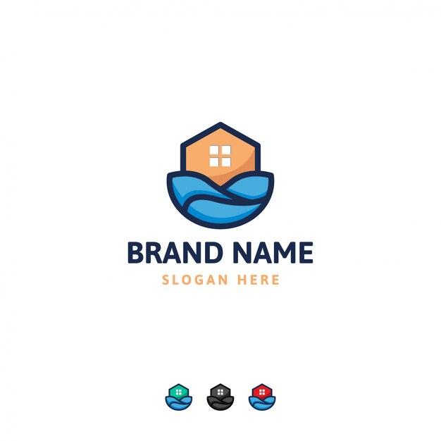 Modelo de design de logotipo de casa Vetor Premium