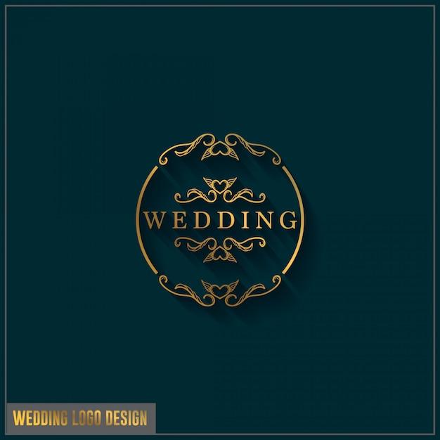 Modelo de design de logotipo de casamento. ornamento de design de logotipo de casamento elegante feminino Vetor Premium