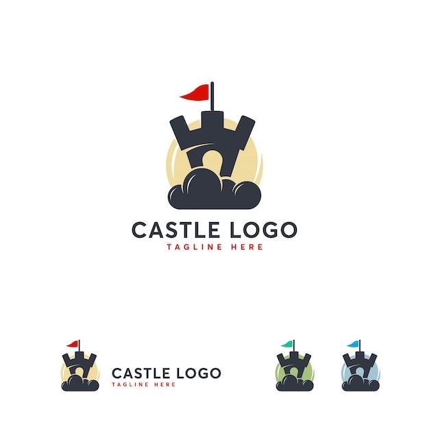 Modelo de design de logotipo de castelo em nuvem, vetor de logotipo de construção on-line Vetor Premium
