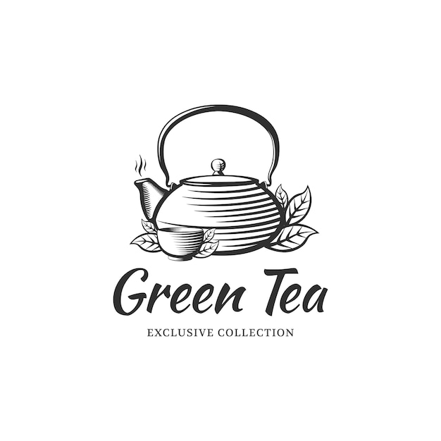 Modelo de design de logotipo de chá para café, loja, restaurante. chaleira e tigela no estilo de gravura. Vetor Premium