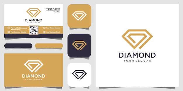 Modelo de design de logotipo de conceito de diamante criativo e design de cartão de visita Vetor Premium