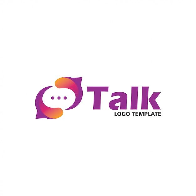 Modelo de design de logotipo de conversa social Vetor Premium