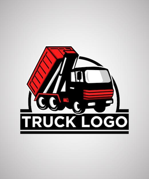 Modelo de design de logotipo de distintivo de caminhão Vetor Premium