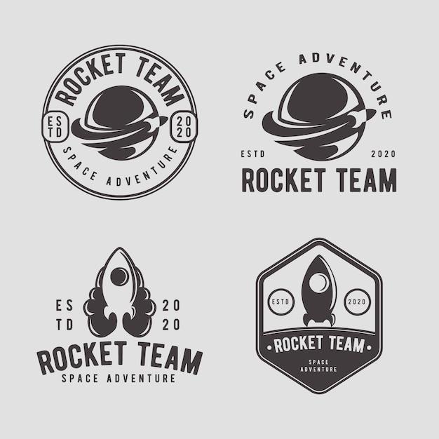 Modelo de design de logotipo de distintivo vintage foguete Vetor Premium