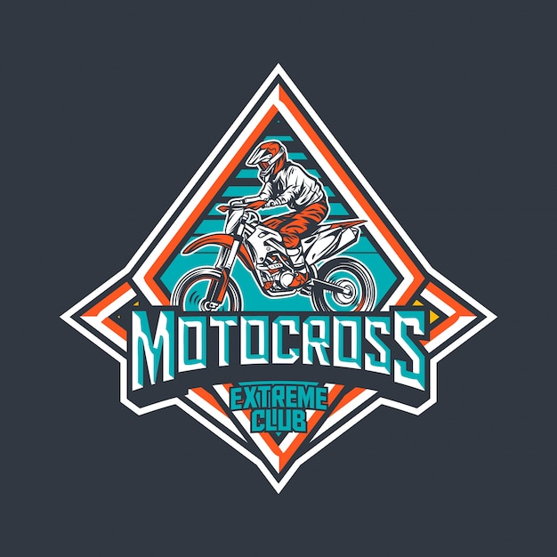 Modelo de design de logotipo de distintivo vintage premium clube extremo de motocross Vetor Premium