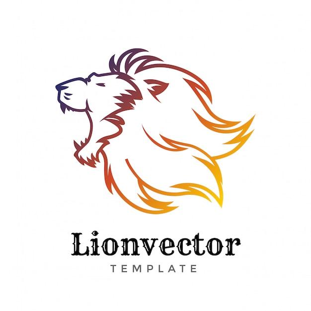 Modelo de design de logotipo de escudo de leão. logotipo da cabeça de leão. Vetor Premium