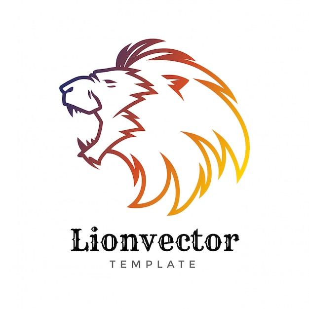 Modelo de design de logotipo de escudo de leão. logotipo da cabeça do leão Vetor Premium