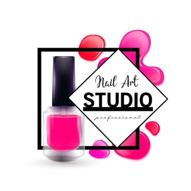 Modelo de design de logotipo de estúdio de arte de unha. Vetor Premium