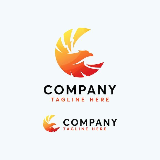 Modelo de design de logotipo de falcão de águia prémio phoenix Vetor Premium
