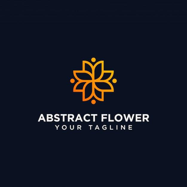 Modelo de design de logotipo de flor abstrata Vetor Premium
